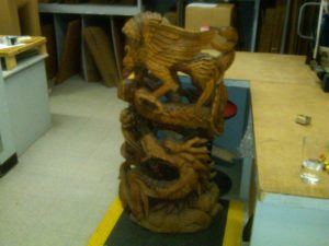 Wooden antique statue