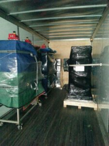 Packed items in shipping truck